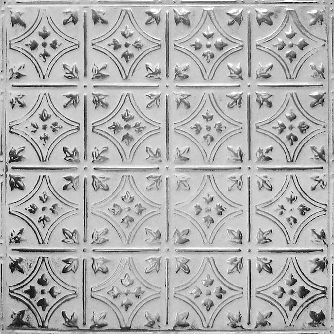 American Tin Ceilings 24 In X 24 In Silver Washed White Backsplash Panels Lowes Com Tin Ceiling Backsplash American Tin Ceiling Metal Wall Panel