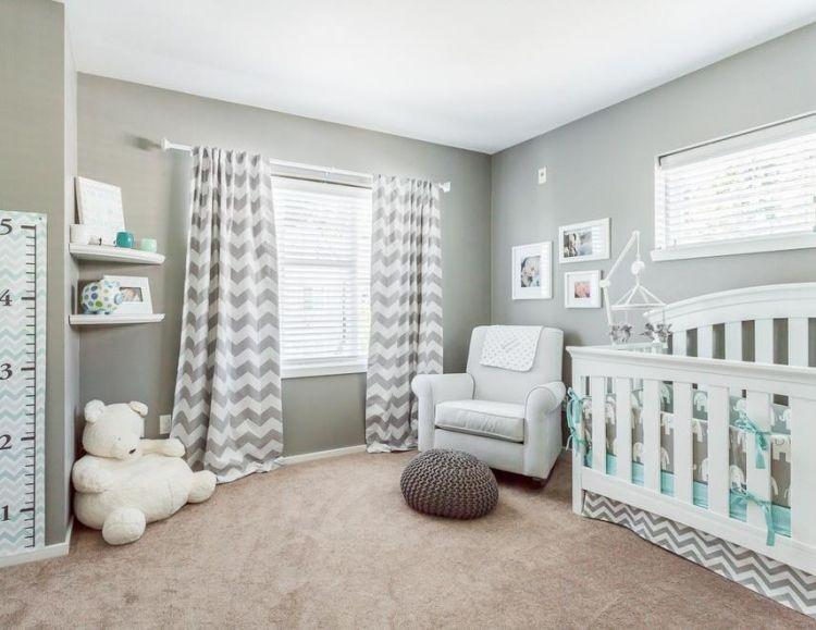 Kinderzimmer deko junge grau  steingraue Wandfarbe mit Weiß und Mintgrün kombiniert | Baby Girl ...
