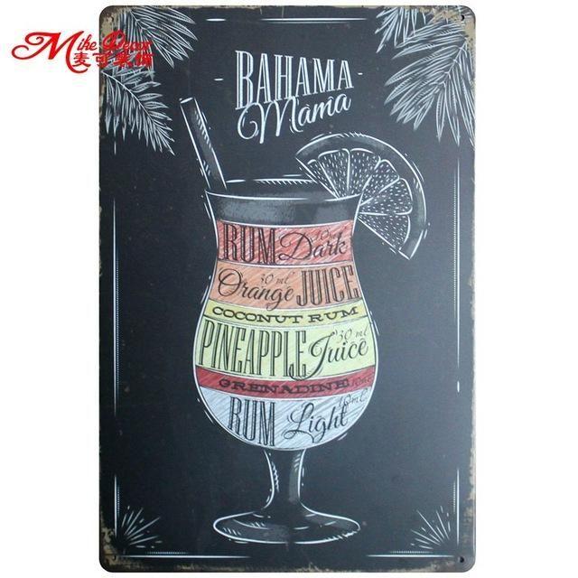 Metal Tin Sign bahama mama Decor Bar Pub Home Vintage Retro Poster