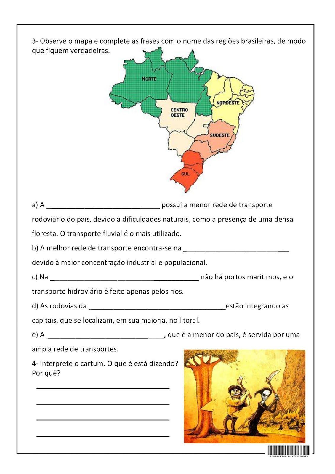 Gabarito Geografia Do Brasil Regioes Do Brasil E Atividades