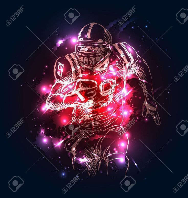Vector background with sketch of american football player Vector illustration  Vector background with sketch of american football player Vector illustration