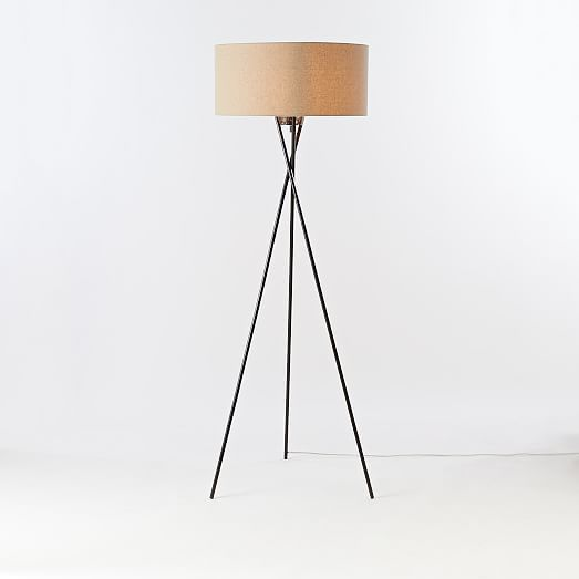 Mid Century Tripod Floor Lamp Antique Bronze Light