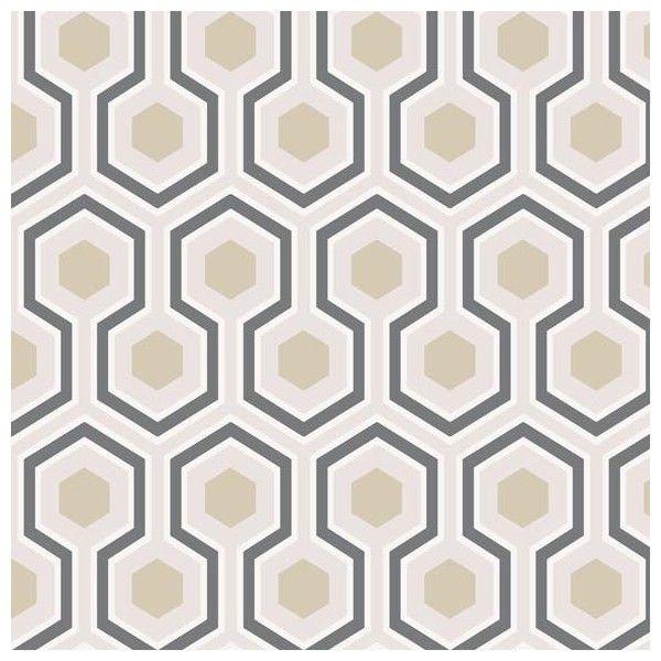 Papier peint - Cole and Son - Hicks\' Hexagon - Blanc / Gris   Decor ...