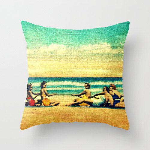 Beach Pillow Cover 18x18 Gift Coastal Decor Throw House Ideas Vintage