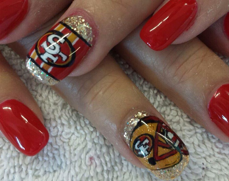 San Francisco 49ers Nail art @cherry Ocampo | Beauty | Pinterest ...
