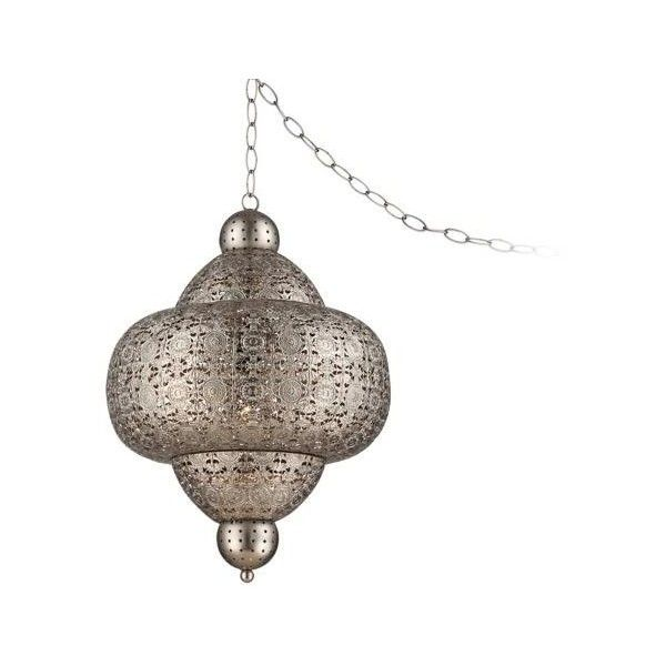Zaida 20 High Moroccan Pewter Plug In Swag Pendant 200 Liked On Polyvore Featuring Home Lighting Ceili Plug In Pendant Light Hanging Lamp Moroccan Lamp