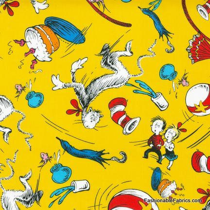 Fabric... The Cat in the Hat Dr Seuss Character Toss on yellow by Robert Kaufman REMNANT (34.5x44)