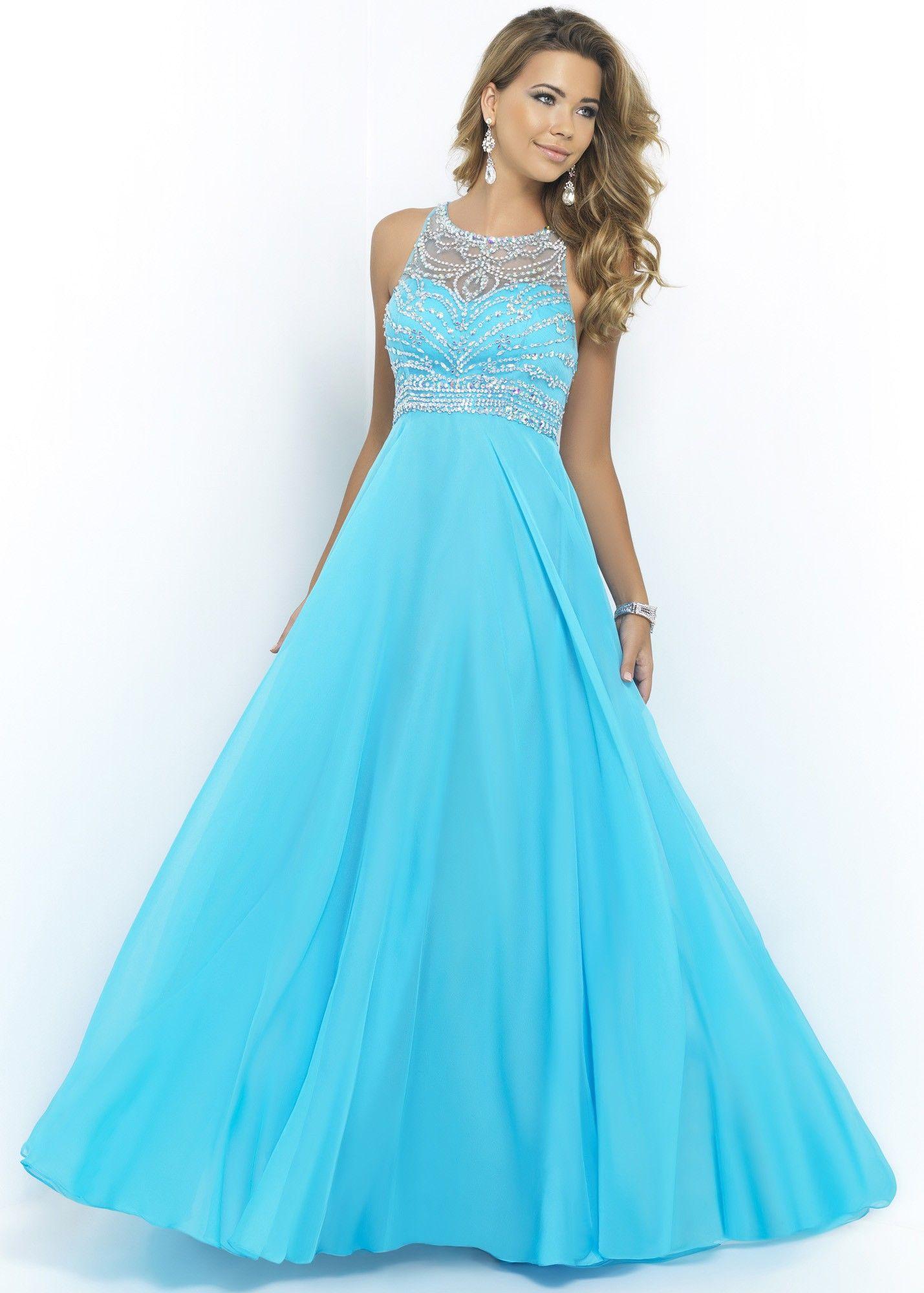 Blush 10001 Sapphire Beaded Illusion Chiffon Dress | Prom Dress ...