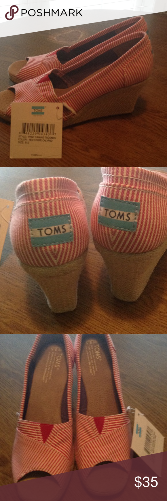 TOMS wedges red/striped 8.5 Never worn. Brand new condition. Super cute! Still have original tags. TOMS Shoes Wedges