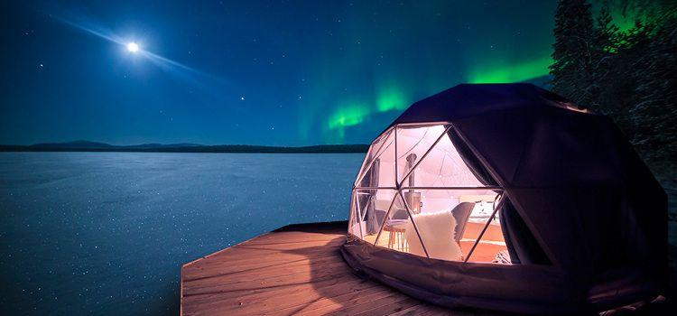 aurora glamping en burbuja aurora boreal