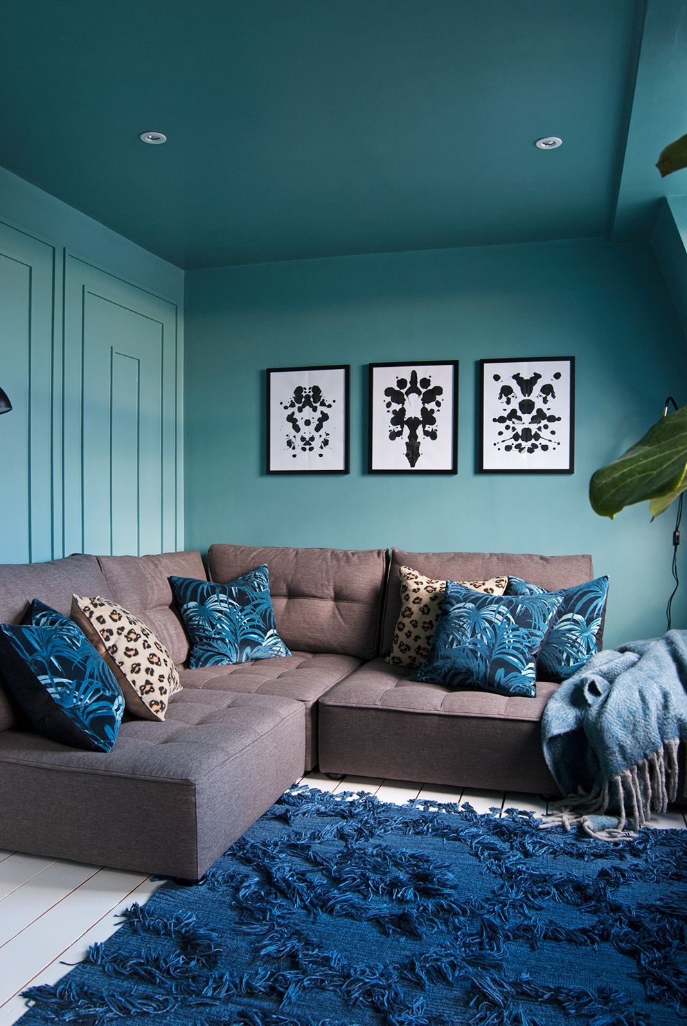 Family Tv Room The Reveal Living Room Turquoise Brown Living