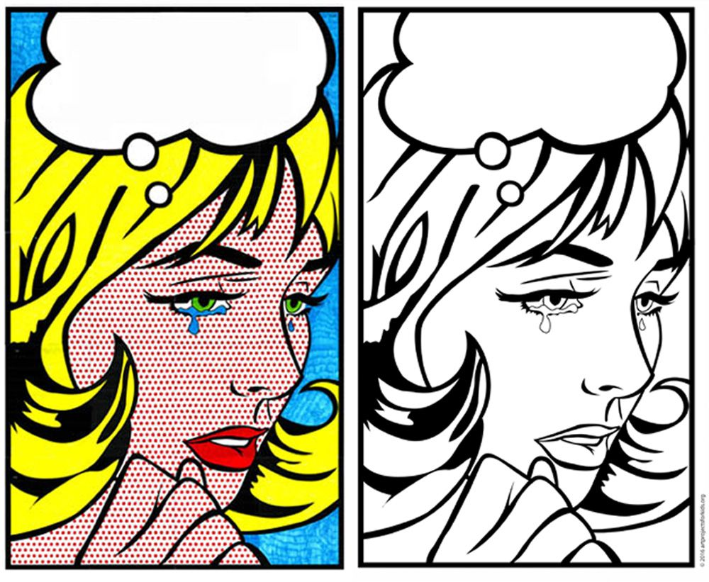 Pop Art Coloring Page Art Projects For Kids Pop Art Colors Lichtenstein Pop Art Pop Art Coloring Page