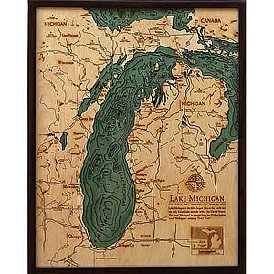 Lake Michigan Wood Map Art 3D Nautical Carved Wood Map Large