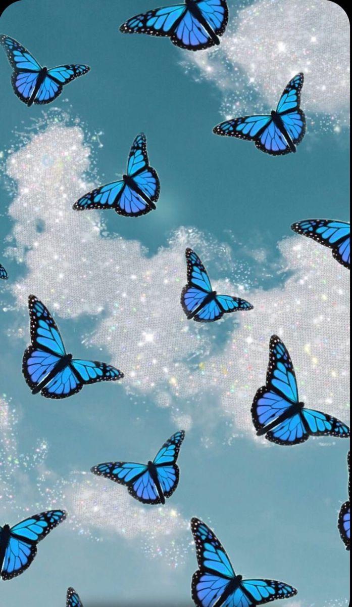 Blue Glitter butterfly | Butterfly wallpaper iphone, Blue ...