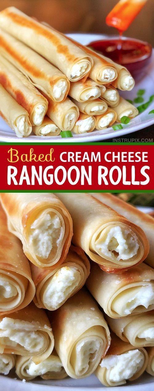 Einfache gebackene Frischkäse-Rangun-Rollen #creamcheeserecipes