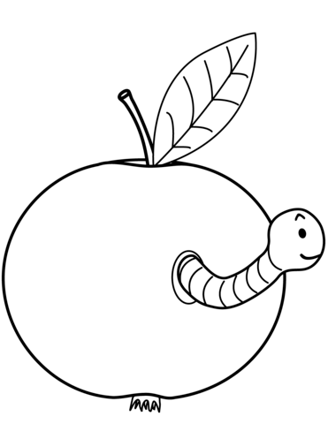 Worm is Coming out of Apple Dibujo para colorear | escritorio ...