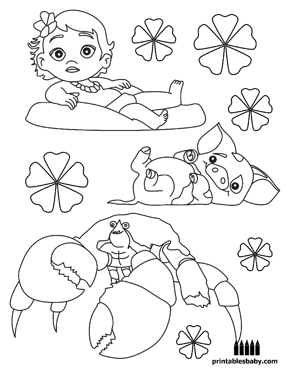Coloring pages disney moana - Moana Printables Baby Free Cartoon Coloring Pages