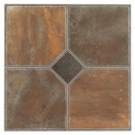 Nexus Rustic Slate 12x12 Self Adhesive Vinyl Floor Tile 20 Tiles Sq Ft Multicolor And
