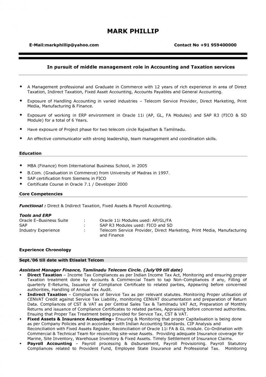 sample resume for freshers commerce graduate