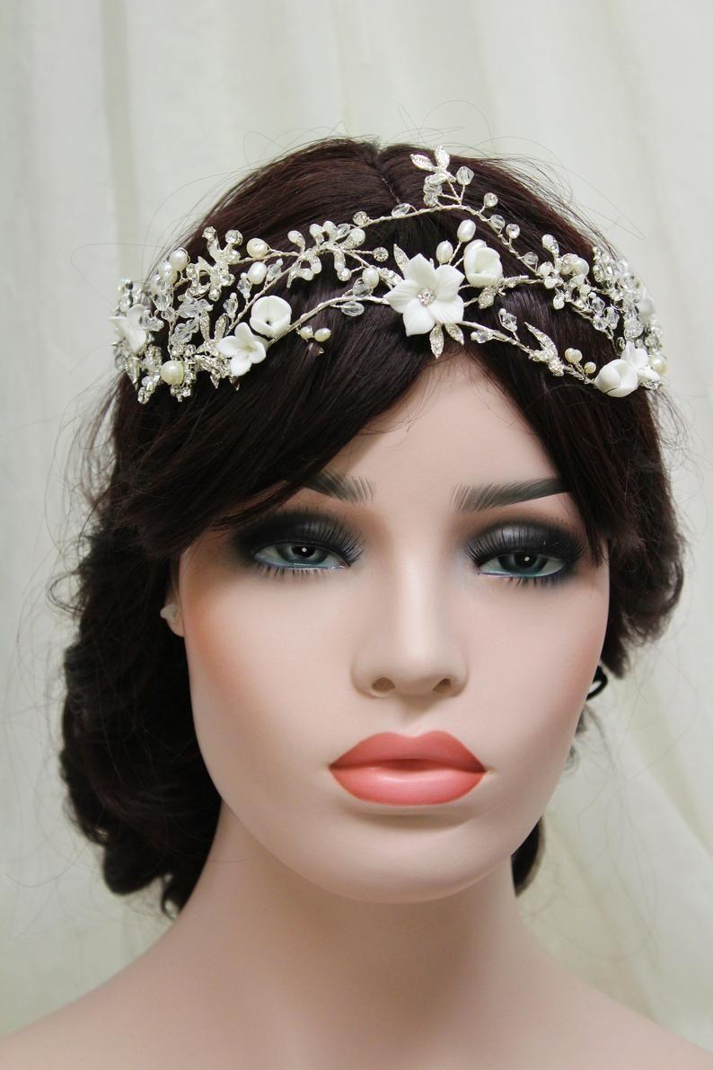 silver freshwater pearl wedding headband, bridal hair vine