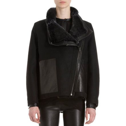 Helmut Lang Leather Trimmed Reversible Fur Jacket at Barneys.com Reversible fur Jacket  jacket with large lapel and collar, leather trim, and felt trim under sleeves. Reversible to all felt with leather paneled side pockets. Available in Black. Imported. Woo/nylon. Specialist clean.