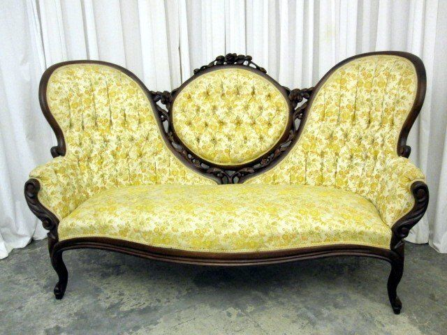 Vintage Victorian Style Cameo Sofa Settee In Rosewood Good Condition W High Back 980 On Goantiques Vintage Sofa Victorian Sofa Victorian Furniture