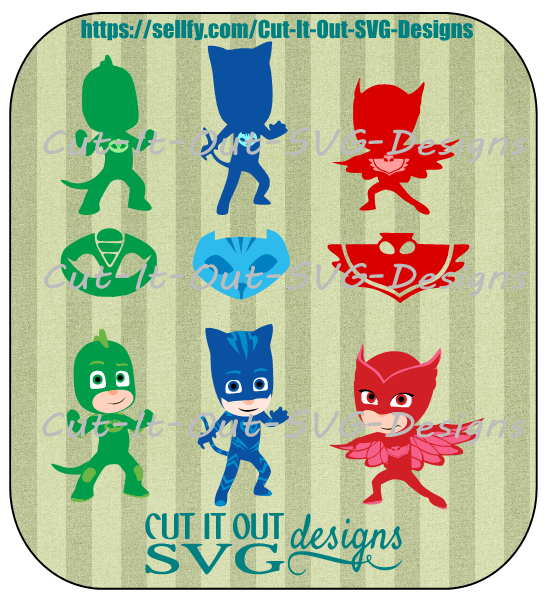 PJ Masks 3 Characters. Silhouettes and Masks SVG Bundle