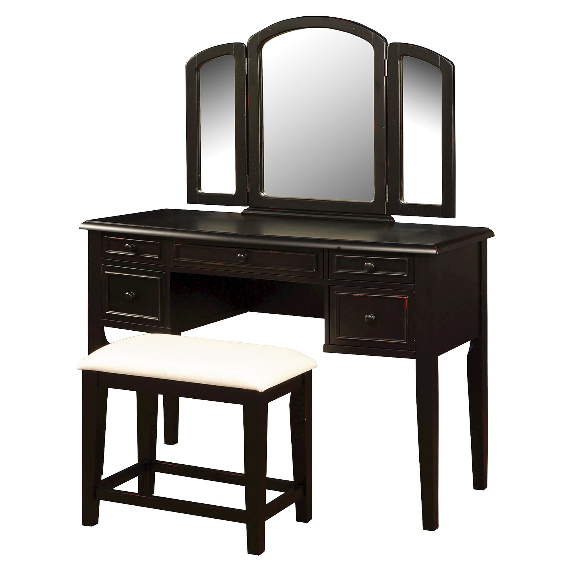 Excellent Simone Vanity Mirror Bench Antique Black Powell Company Gmtry Best Dining Table And Chair Ideas Images Gmtryco