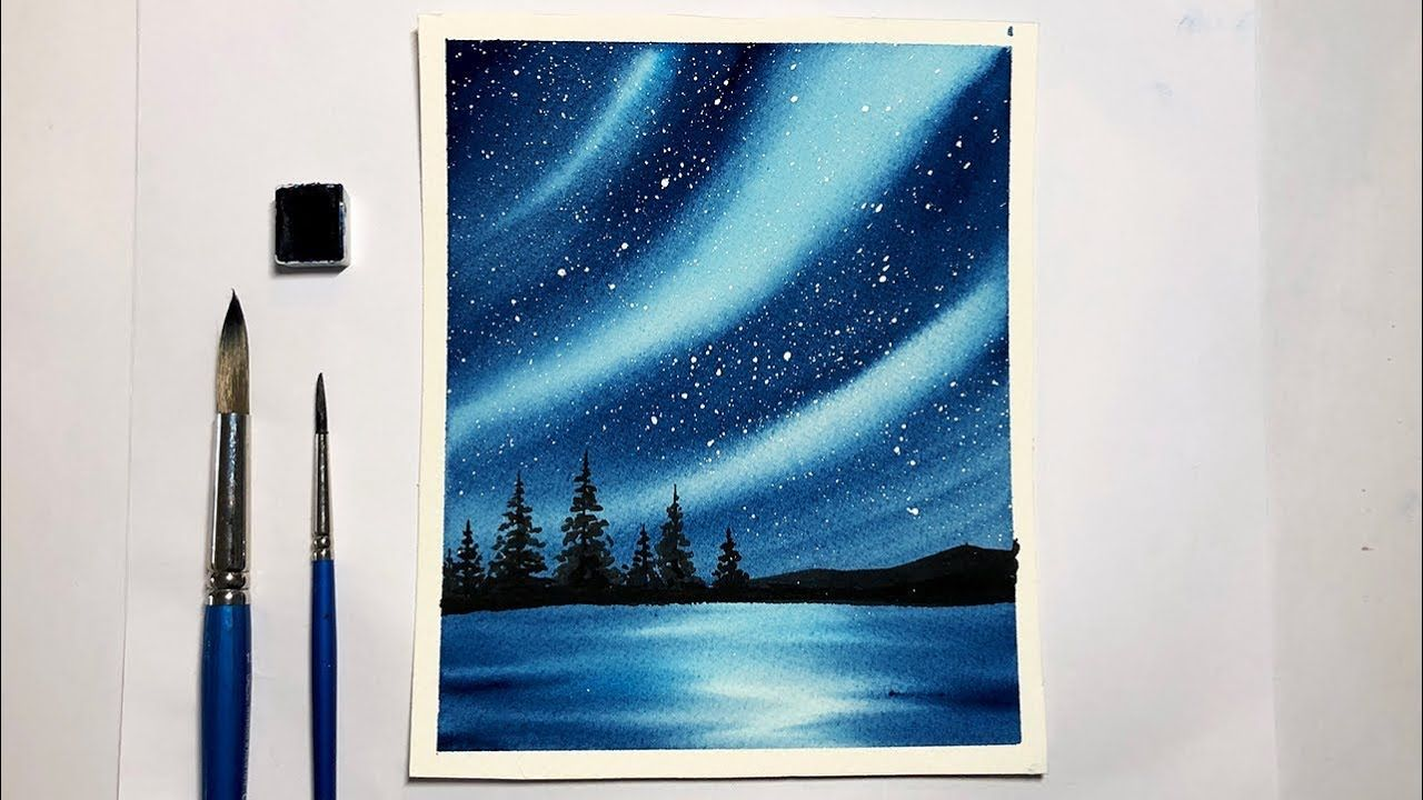 Easy Watercolor Painting For Beginners Northern Lights Aurora
