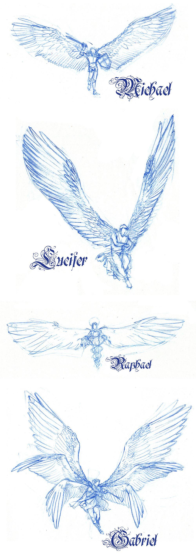 Four Archangels Sketches By Ewela1130 Tat Pinterest Sketches