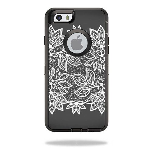 Black white Flower Print Skin Decal for Otterbox Defender iPhone 6 PLUS Case