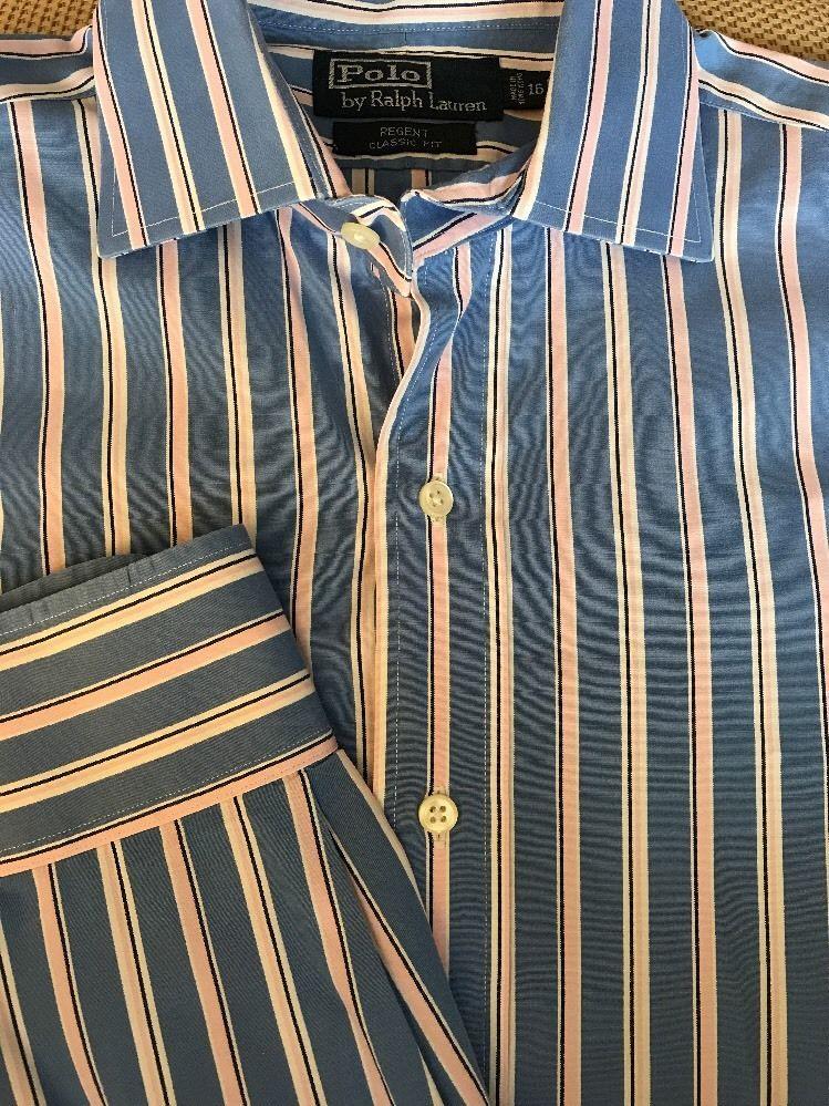 7d2d2c7f4 Polo Ralph Lauren Regent Classic Fit Blue White PinK Striped 16 Large Shirt  L S