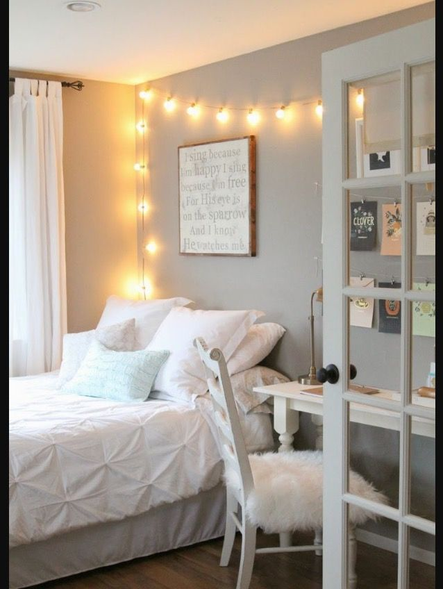 Light Blue White Gold Grey Remodel Bedroom Small Room