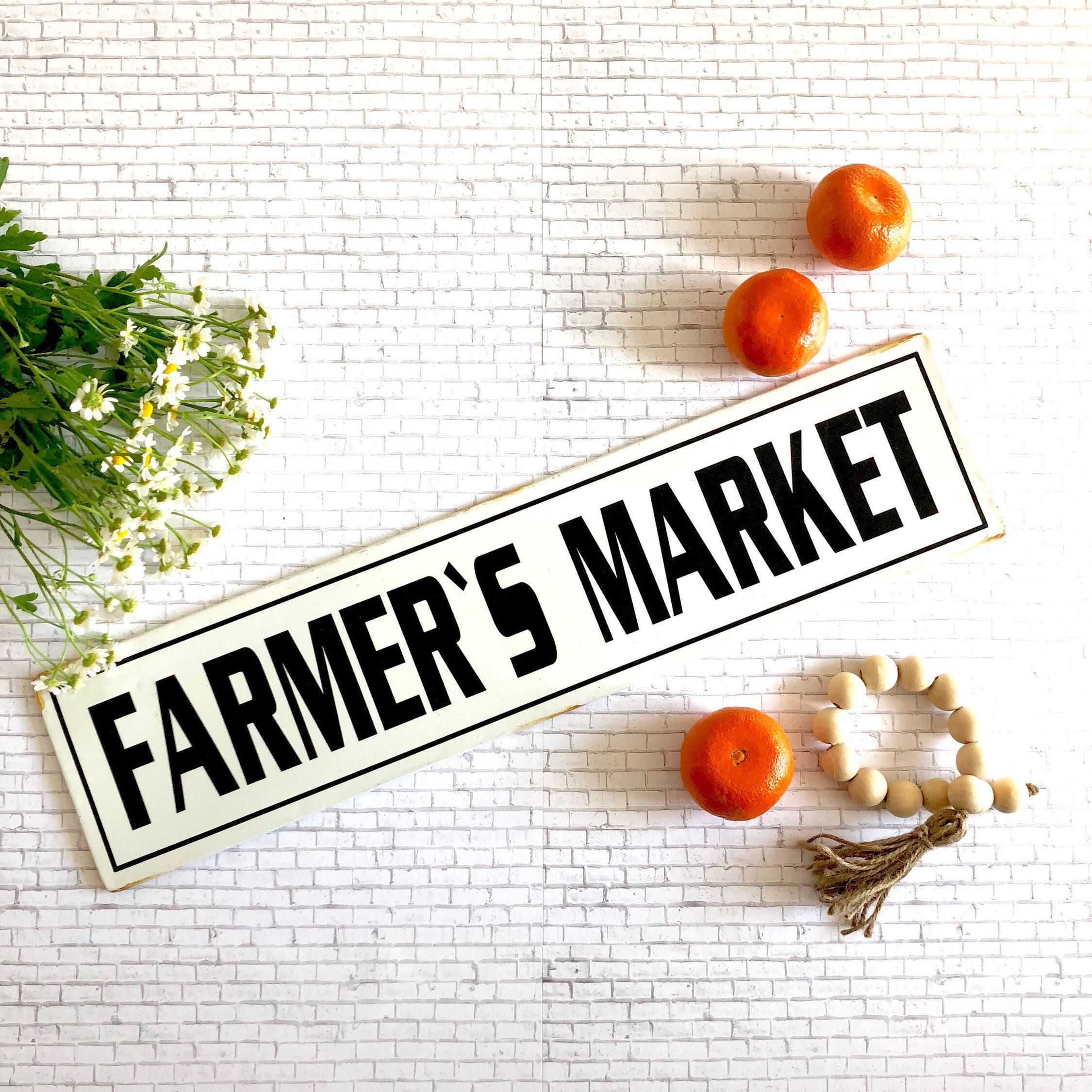 Farmers Market Metal Sign, Enamel Farmers Market Sign, Farmhouse ...