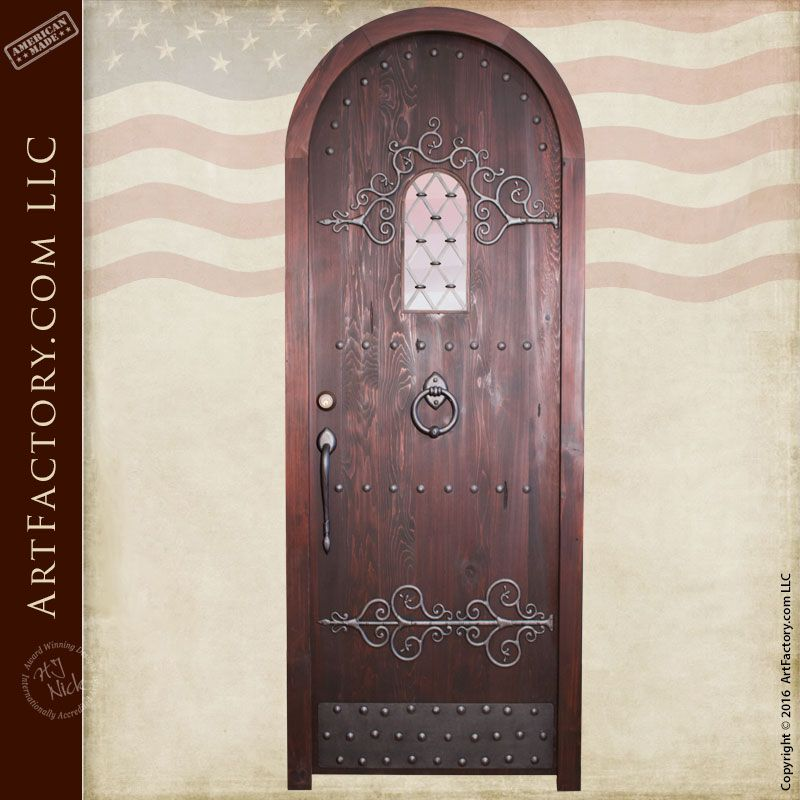 Arched Gothic Door with Hand Forged Iron Accents - CED485 & Arched Gothic Door with Hand Forged Iron Accents - CED485 | Hand ...
