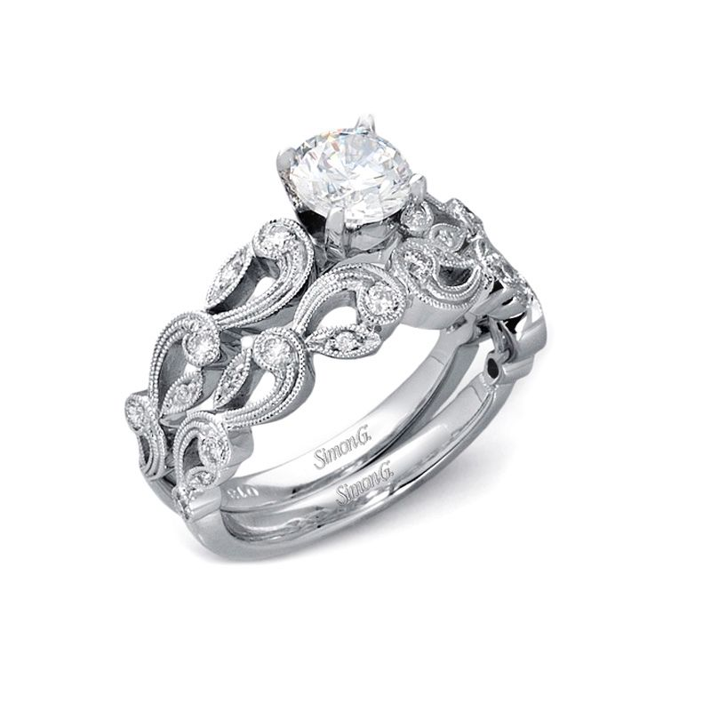 33ct simon g diamond antique style 18k white gold engagement ring 33ct simon g diamond antique style 18k white gold engagement ring setting and wedding band set junglespirit Image collections