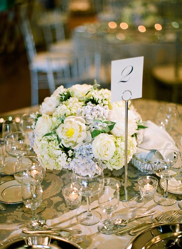 White rose and blue hydrangea centerpiece