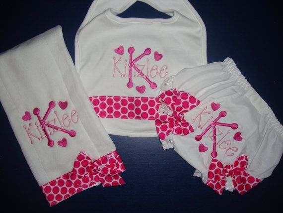 Personalized baby gift diaper cover bib and burp cloth set personalized baby gift diaper cover bib and burp cloth set monogrammed bloomer baby girl gift set baby girl shower gift girl baby gift negle Gallery