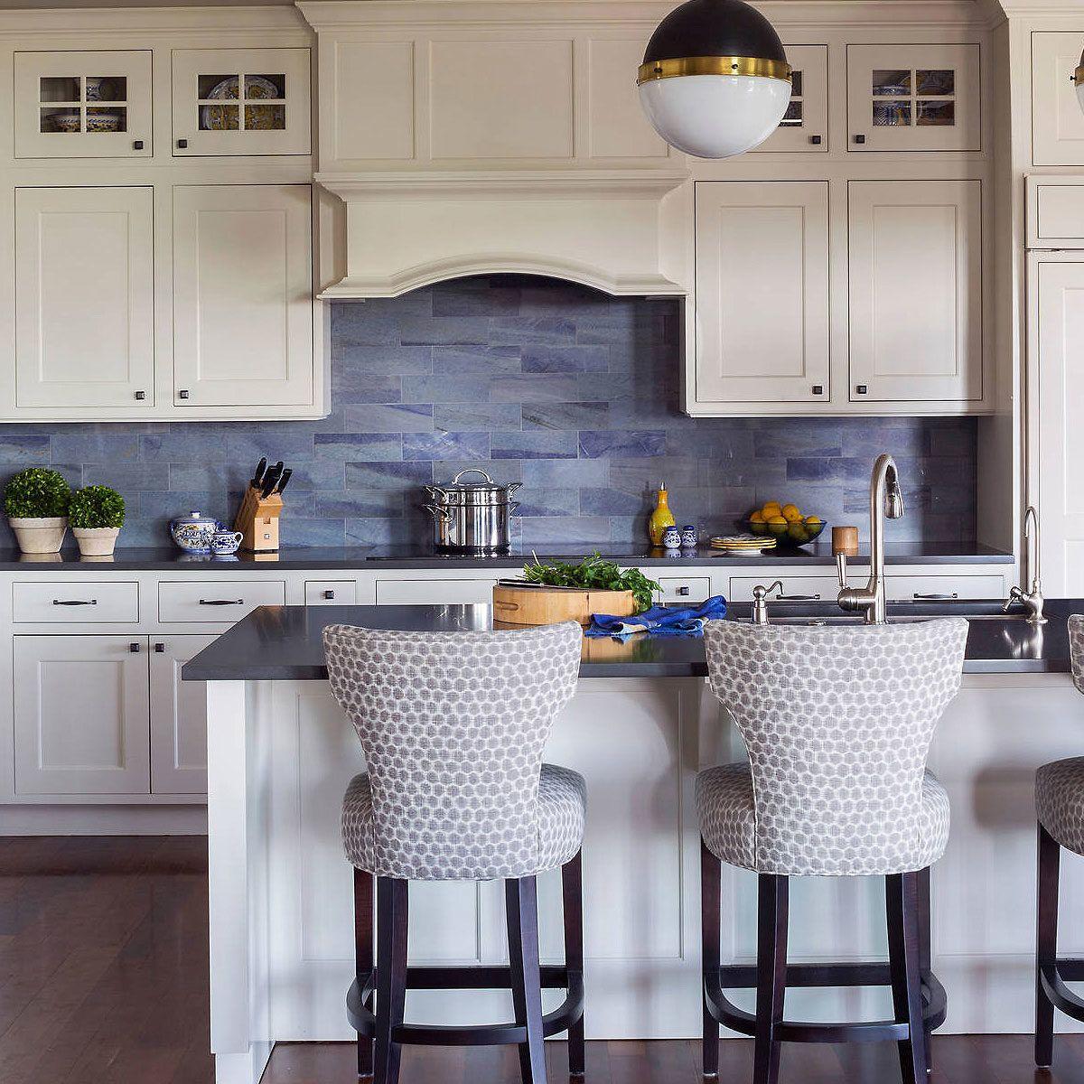 Black wood countertop modern blue glass backsplash tile ... on Modern Backsplash For Dark Countertops  id=63090