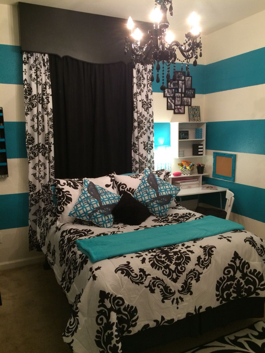Black White Amp Teal Teens Bedroom Teal Stripes And Real