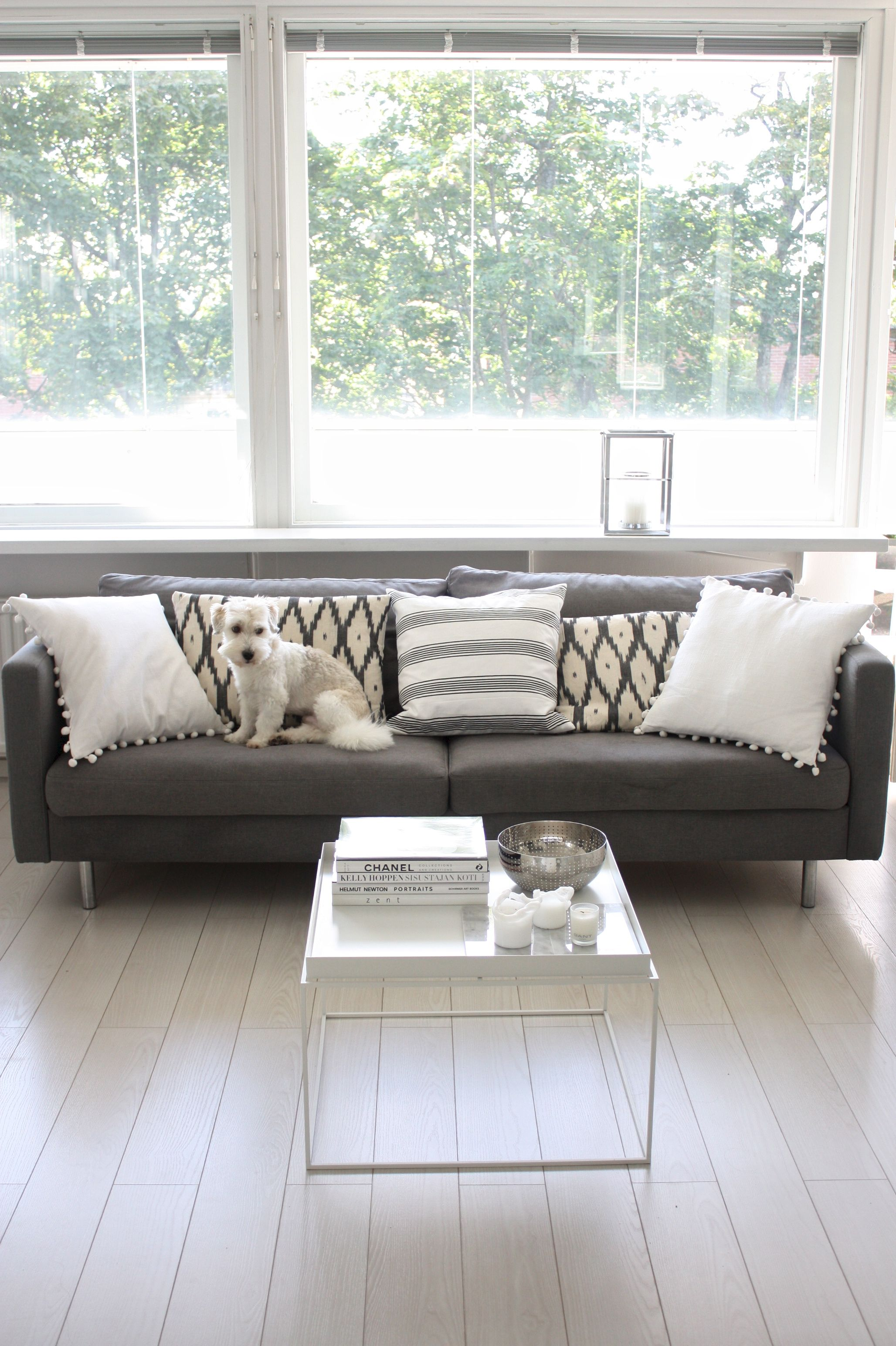 homevialaura | living room | grey sofa | Gauhar Ikat cushion | Hay Tray Table | coton de tulear dog