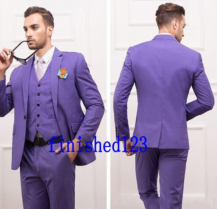 Popular Style One Button Groom Tuxedos Groomsmen Men\'s Wedding Prom ...