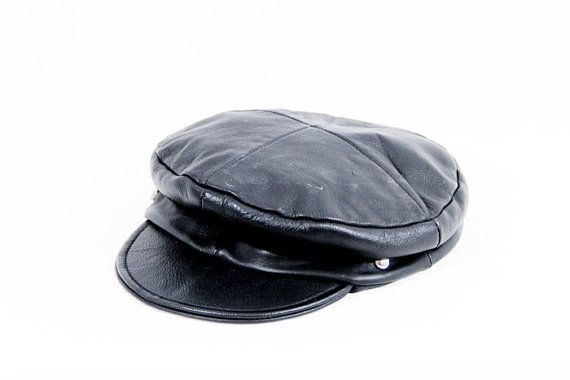 f35be4eb36497 70s biker leather daddy black studded hat on Etsy