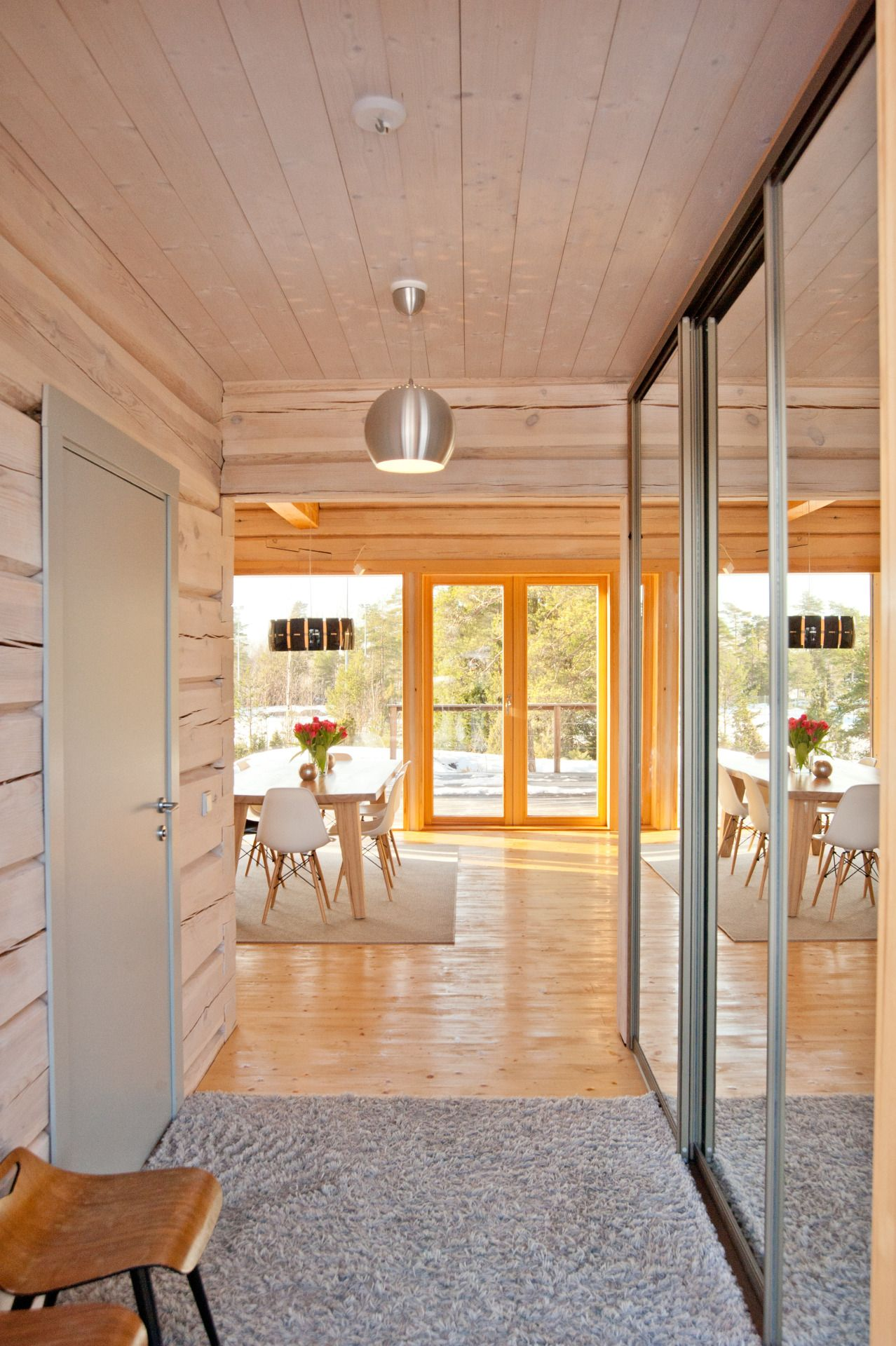 Modern log house entrance hall
