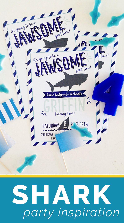 Shark Birthday Invitation DIGITAL FILE Shark Fin Birthday Party ...