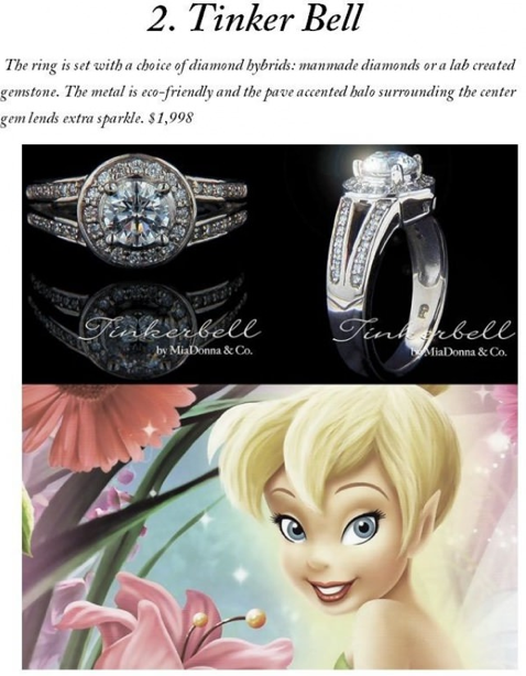 disney inspired engagement rings tinkerbell - Disney Inspired Wedding Rings