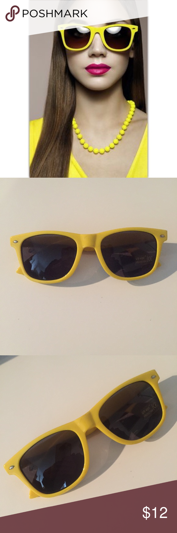 🔅Vintage Yellow Sunglasses Vintage style yellow shades. Yellow frames, black lens. NWOT. Summer, party girl sunglasses Vintage Accessories Sunglasses