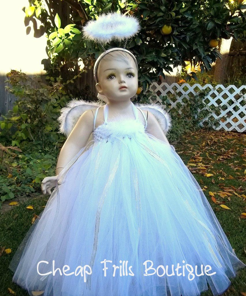 Girl Baby Snow CHRISTMAS ANGEL Costume Tutu Dress Feather Halo Wings ...