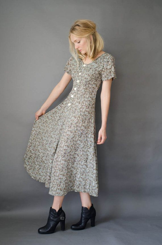 Grunge 90's Floral Green Maxi Ditzy Dress By