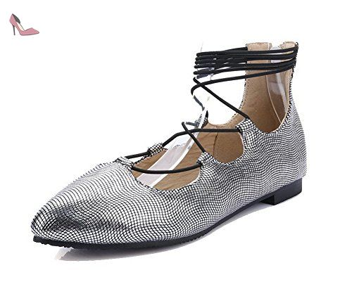 Voguezone009 Femmes Tirer Sur Les Pompes Talon Mi Cuir Pu Pur Bout Rond Chaussures, Noir, 38